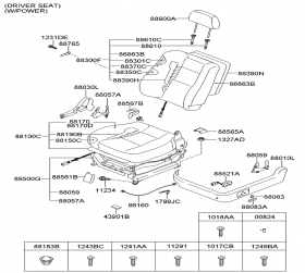 كلید محرك صندلی جلو چپ / کیا سورنتوBL / کد فنی 8808439000FC